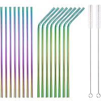 HOMQUEN Pailles colorées en Acier Inoxydable de 18 pièces, pailles Arc-en-Ciel à Boire réutilisables de 8,5 '', avec…