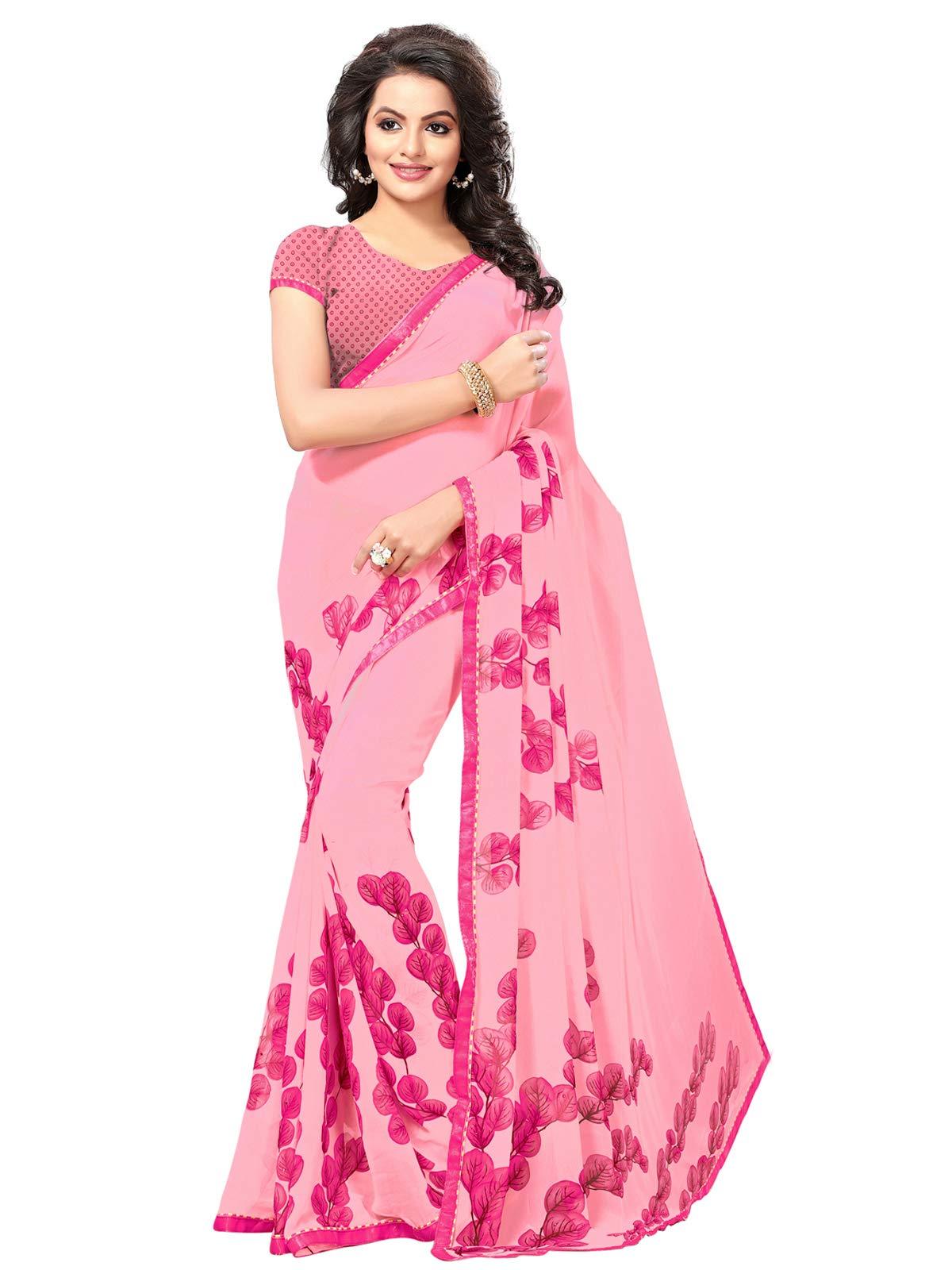 Kanchnar Women's Pink Georgette Printed Saree679S17