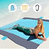 GeeMart Sand Free Beach Mat Oversized 210 x 200cm Waterproof&Sand-Proof Picnic Mat with 5 Stakes for 4-7 Persons Portable Bea