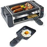 Appareil Raclette Mini Grill Raclette avec 2 Poêlons à Raclette et 4 Grattoirs en Bois, Thermostat réglable, Revêtement Antia