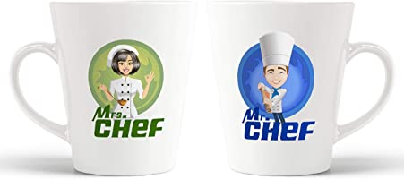 iKraft Mr. Chef and Mrs.Couples Conical Coffee Mug Set - Husband and Wife Mugs -Gift for His and Her
