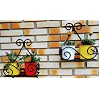 Dime Store Plant Stand Flower Pot Stand for Balcony Living Room Outdoor Indoor Plants Over The Balcony Grill Rack (Set…