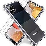 Funda Transparente para Samsung A42 5G,Cristal Templado y Protector de Pantalla Samsung Galaxy A42 5G (2Pack) con Carcasa Pro