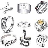 9 Stück Silber verstellbare offene Ringe Set, Angst Ring Frosch Ring Schmetterling Paar Ringe Weinendes Gesicht Ring Umarmung