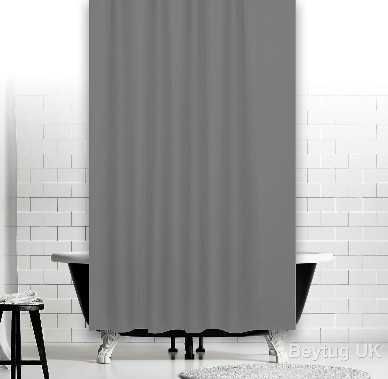 Extra Long Grey Fabric Shower Curtain Wide 180 X Long 200CM (Grey ...