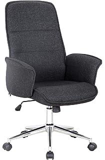 SixBros Bürostuhl Schreibtischstuhl Drehstuhl Stuhl Stoff Grau 1320H//8179