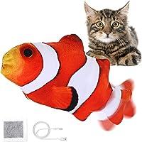 Jeteven Elektrisch Spielzeug Fisch, Katzenminze Fisch Spielzeug, Katze Interaktive Spielzeug mit USB, Simulation Plush…