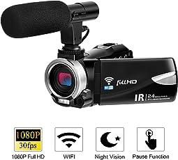 Camcorder Kamera mit Mikrofon FHD 1080P 30 FPS 24,0 MP Videokamera Camcorder WiFi Night Vision Vlogging Kamera 16X Digital Zoom HDMI-Ausgang