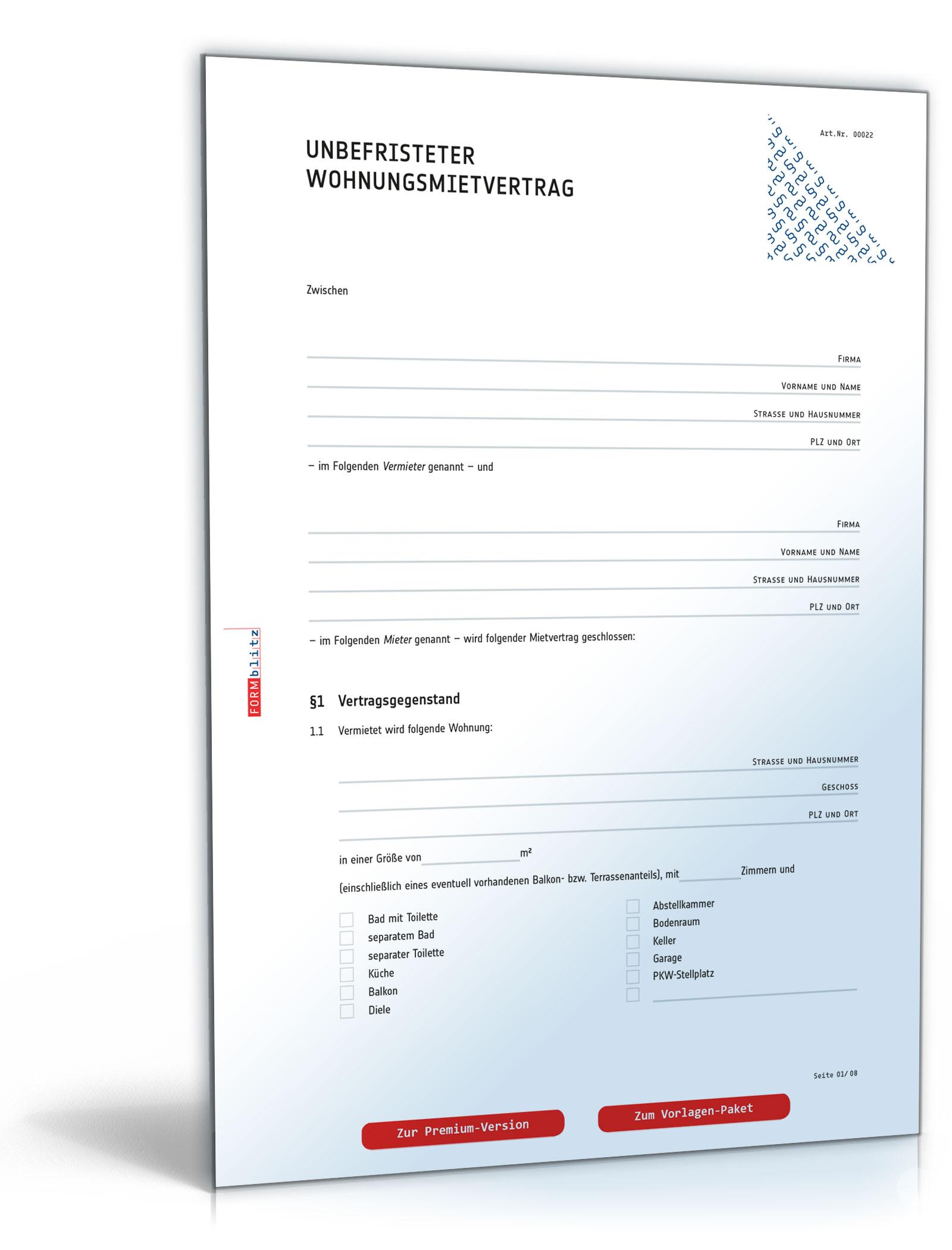 Mietvertrag Wohnung - PDF kostenlos zum Download [Download]