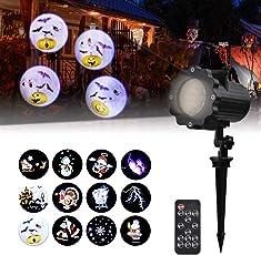 Led Projektionslampe, Dynamisch Led Projektor mit 12 Motiven, Wasserdicht IP65 Weihnachtsbeleuchtung für Halloween, Karneval, Festen und Dekoration
