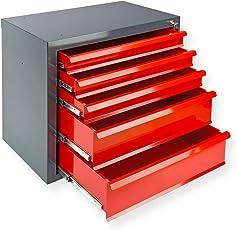 DeTec Metall Schubladenschrank #Fernando# mit 5 Schubladen/Unterschrank / Stahlmagazin, 70x43.5x60 cm, rot, Werkzeugschrank/Schubladencontainer für Büro, Garage und Werkstatt