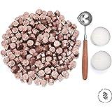 Kelzia Cire à cacheter végétalienne–Perles de cire octogonales avec 2 bougies chauffe-plat & 1 cuillère à fondre, sans tampon