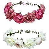 Wohlstand Cinta para el cabello,corona de flores,Flor Hecha a Mano Diadema Corona Floral,ajustable,Novia Corona Boda Halo Gui