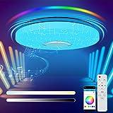 Led-plafondlamp, dimbaar, 36 W, led-plafondlamp met afstandsbediening, RGB, bluetooth-luidspreker, app-bediening, voor kinder