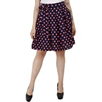 emeros Knotted & Pleated Flared Printed Skirt with Inner Lining