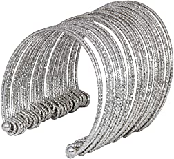 JDX Silver Plated Bangles Cuff Bracelet for Women and Girls_Adjustable