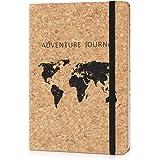 Navaris Cuaderno con cubierta de corcho - Diario de viaje ecológico - Libreta a rayas - Bloc de notas para el hogar u oficina