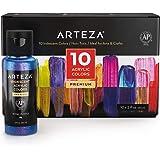 Arteza Zestaw farb akrylowych iryzowanych, 10 farb kameleon, butelki 60 ml, połyskujące farby akrylowe o wysokiej lepkości na
