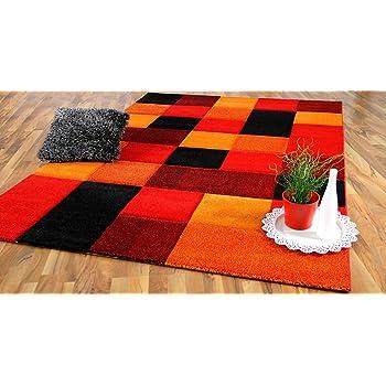 Designer Teppich Brilliant Rot Orange Karo In 4 Grossen Amazon De