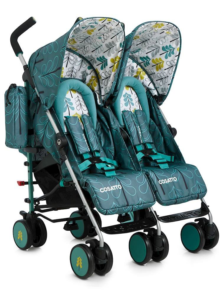 Cosatto Supa Dupa Double/Twin Stroller, Suitable from Birth, Fjord Cosatto Supa dupa is a compact from-birth double stroller. it's lightweight but sturdy. the stowaway autostand makes it great for home or car storage. With upf50+ extendable hoods, raincover and fleece-lined footmuffs, supa dupa's in charge, rain or shine.  the handy compact fold means you can hop on and off transport. Each seat has its own recline - so whatever their age, whatever their stage, whatever their mood that day, they're happy. 2