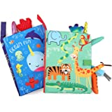BelleStyle Bambino Libro Stoffa, Gioco per Bambini Giocattoli, 2PCS Quiet Book con Code di Animali, Cognition Libro Neonati S