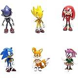 smileh Sonic Cake Topper Figuras Sonic The Hedgehog Figuras Decoración Para Tarta Sonic Shadow Tails Mini Figuras Set 6 Pieza