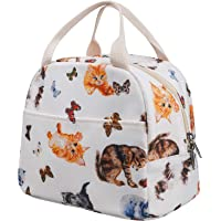 EurCross Lunch Bag White Oxford Fabric Tote Insulated Lunch Box Water-resistant Cooler Thermal Lunch Bags for Women Kids Boys Girls Teens School Work Picnic Boating Beach Fishing Cute Animals Pattern