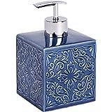 WENKO Distributeur de savon Cordoba bleu foncé - Distributeur de savon liquide Capacité: 0.5 l, Céramique, 8.5 x 13 x 8.5 cm,