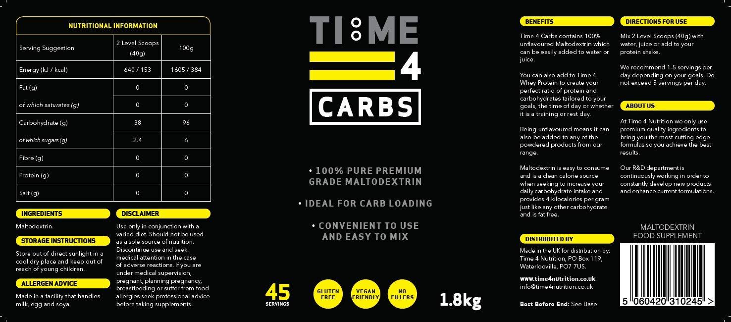Time 4 Carbs 1.8kg Carb Powder – 100% Pure Unflavoured Premium Grade Maltodextrin Powder – High Calorie Weight Gain…