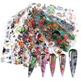 Halloween Nail Foil Transfers Stickers Day of the Dead Nail Foils 10 Rolls Pumpkin Spider Skull Ghost Witch Nail Decals for H