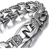 Urban-Jewelry Il Nero 23cm dell'argento del Braccialetto del Collegamento degli Uomini stupefacenti dell'Acciaio Inossidabile