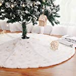 Kaximd Christmas Tree Skirt 30/36/48 inches Xmas White Tree Skirts Snowflake Embroidery for Christmas Decorations Holiday...
