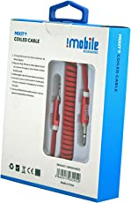 IMobile Aux Audio Cable with 3.5mm Jack / Male to Male Audio Cable 3.5mm - 1.8 Meter Coiled / Audio Aux Cable For Car Stereo Speaker Hometheater and more. (Red)