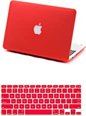 Robustrion Rubberized Matte Hard Case for MacBook Air 13 inch(A1369 / A1466)(Year 2010 - Mid 2017) with Keyboard Protector Cover(Red)