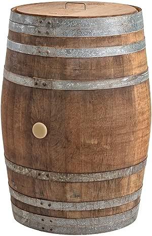 Temesso Regentonne mit Deckel, Regenfass Holzfass, Weinfass, Tonne, Eiche 225 Liter Wasserfass - original Fass (Deckel Edelstahlgriff)