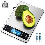 Balance de Cuisine Electronique, HOMEVER Balance Alimentaire Numérique de Précision en Acier Inoxydable, Capacité 15kg/1g, Éc