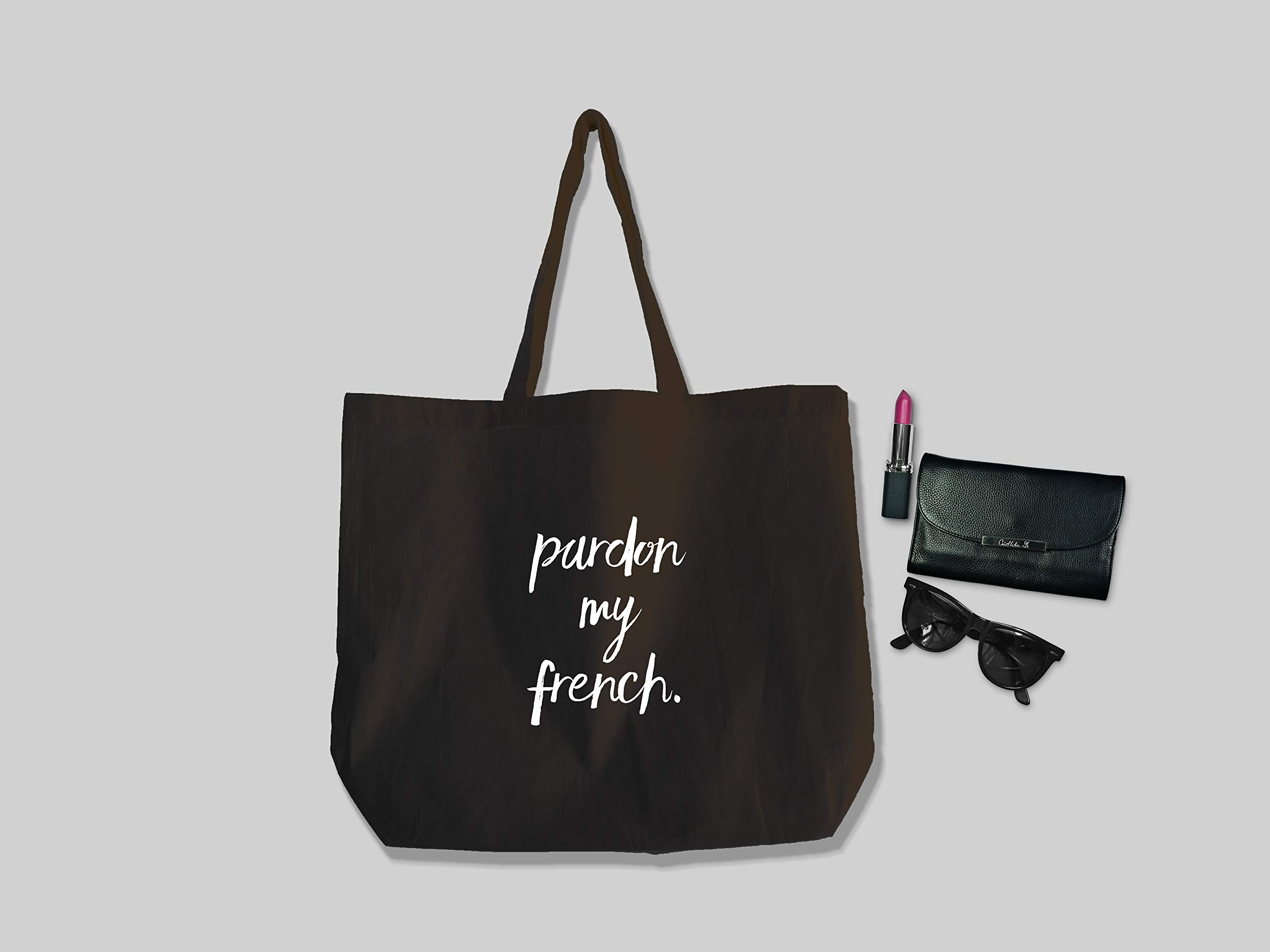 Pardon My French Cotton Tote Bag - handmade-bags