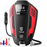 TUSA Tyre Inflator, Portable DC 12V Air Pump for Car Tyre, Bicycles and Other Inflatables, Portable Air Compressor with LED L