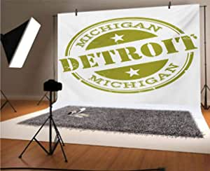 Detroit 15x10 FT Vinyl Photography Backdrop,Aged Grunge Detroit Michigan Stamp Retro Design with Stars Tourism Travel Background for Baby Birthday Party Wedding Studio Props Photography
