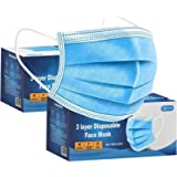 100 PCS -3-Layer Protective Disposable Face Masks, Breathable Face Mask,High Filterability, Sutaible For Sensitive Skin…