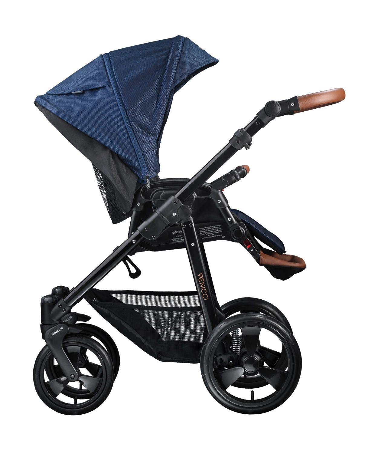 Venicci Gusto 3-in-1 Travel System - Navy - with Carrycot + Car Seat + Changing Bag + Footmuff + Raincover + Mosquito Net + 5-Point Harness and UV 50+ Fabric + Car Seat Adapters + Cup Holder  3 in 1 Travel System with included Group 0+ Car Seat Suitable for your baby from birth onwards 5-point harness to enhance the safety of your child 3