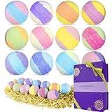 Spa Luxetique Bombe de Bain Effervescente - Coffret Cadeau Boule de Bain Coloré Noël - 12Pcs Bain Moussant à l'Huile Essentie