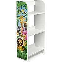 Leomark Bibliothèque Etagere De 3 Casiers Meuble De Rangement Colour Blanc Motif: Animaux de la Jungle Lion Eléphant…