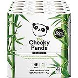 The Cheeky Panda, rotolo di carta igienica al 100% di bambù ipoallergenico ultra sostenibile, confezione da 45 pezzi