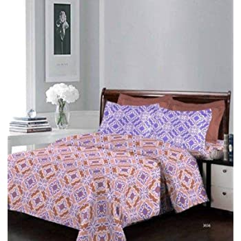 Bombay Dyeing Beautiful Designer Bedsheet 104 TC 100% Cotton Double bedsheet with Two Pillow Cove (Brown)