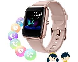 Montre Connectée Femmes Homme, Montre connectée Enfant,Smartwatch Tactile Bracelet Connecté Etanche Sport Podometre Cardio Mo
