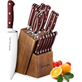 Emojoy Bloc de Couteaux, 15 Pièces Set Couteaux de Cuisine, Lot de Couteaux, Couteaux de Chef de Bloc en Bois,Allemagne Stainless Steel en Bois Pakka
