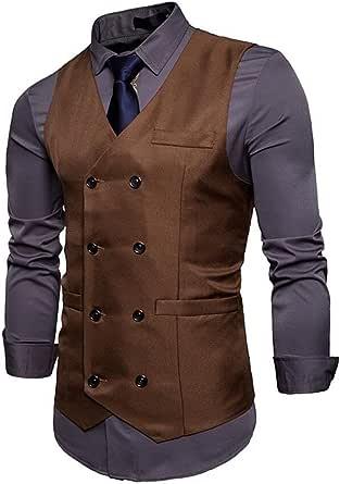 GRMO-Men V-Neck Solid Double-Breasted Blazer Suit Vest Waistcoat