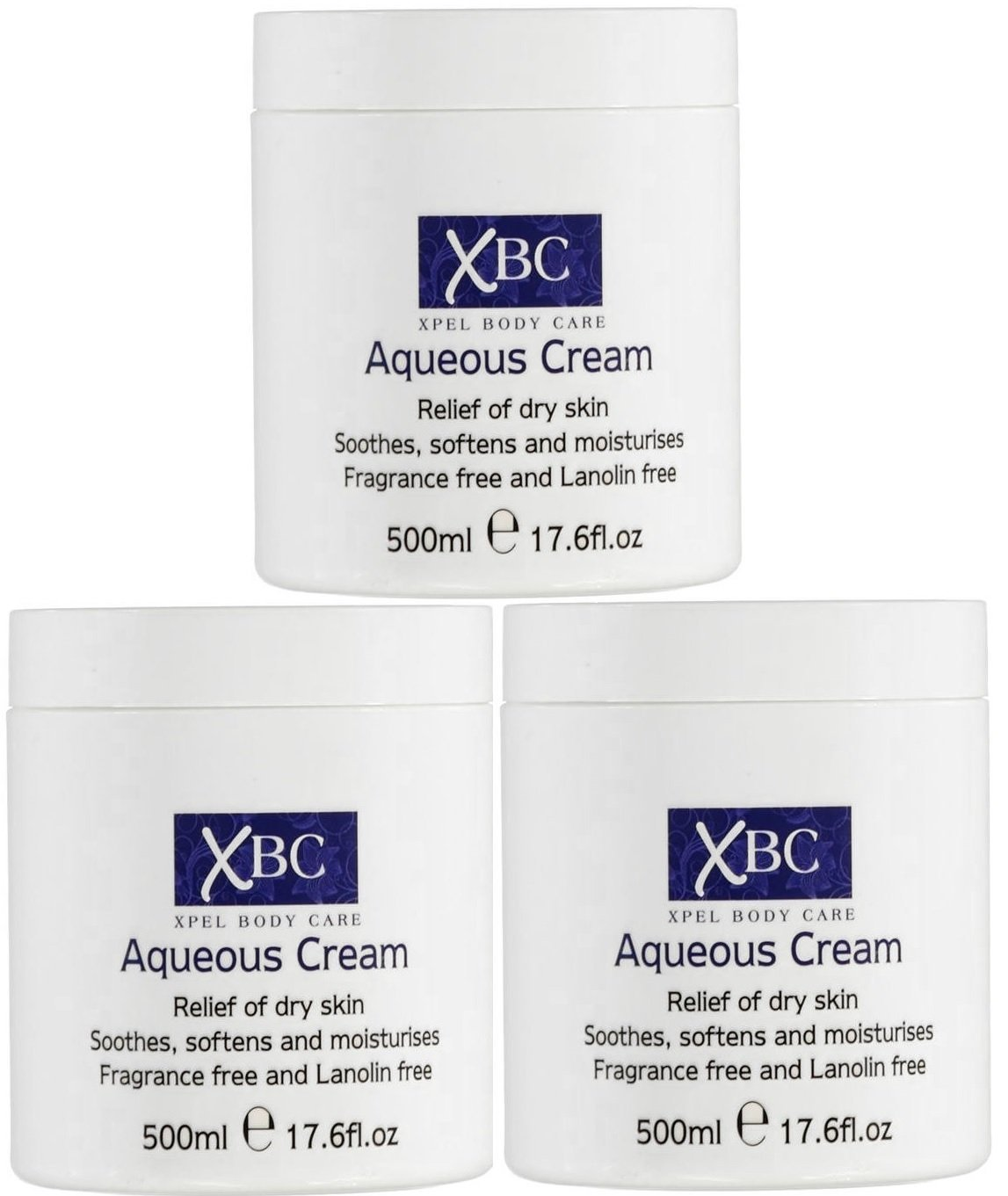 3 x 500ml XBC Aqueous Cream Emollient Large Tub Relief for Dry Skin