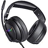 XIBERIA Xbox One-headset, PS4-headset, spelhörlurar, 3,5 mm surroundstereo-gamingheadset med mikrofon, mjuka öronskydd för PC